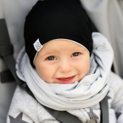 Bamboo reversible beanie Black-Light grey