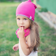 Bamboo reversible beanie Lilac-Coral