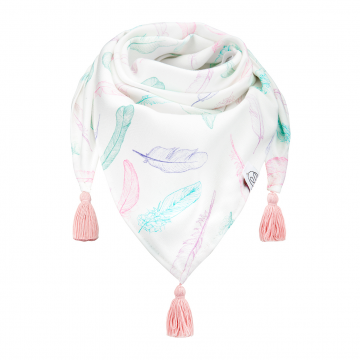 Triangle bamboo scarf Paradise feathers Dusty pink