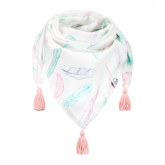 Triangle bamboo scarf Paradise feathers Blush