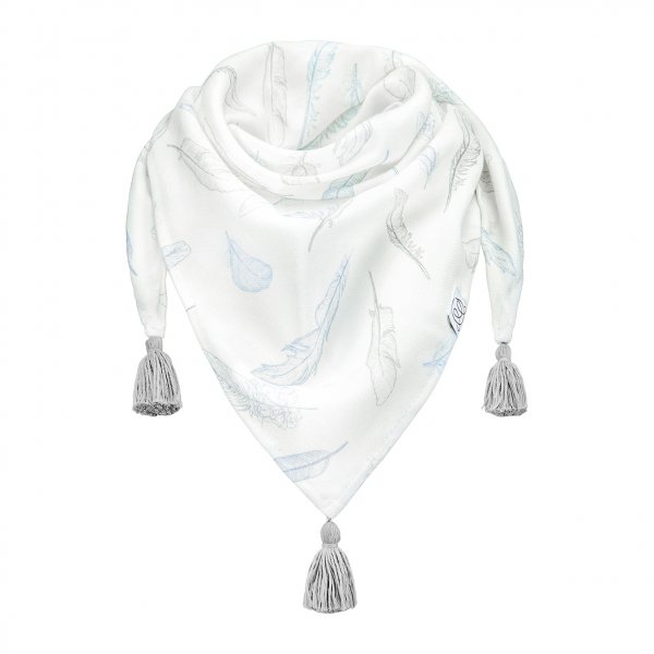 Triangle bamboo scarf Heavenly feathers Grey