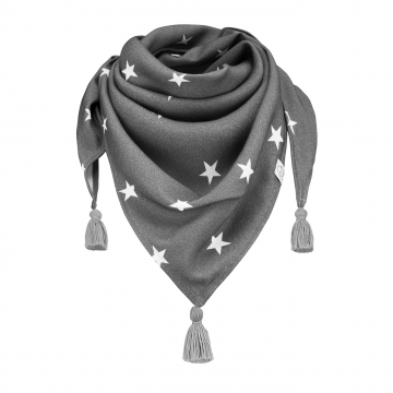 Triangle bamboo scarf Stars Grey