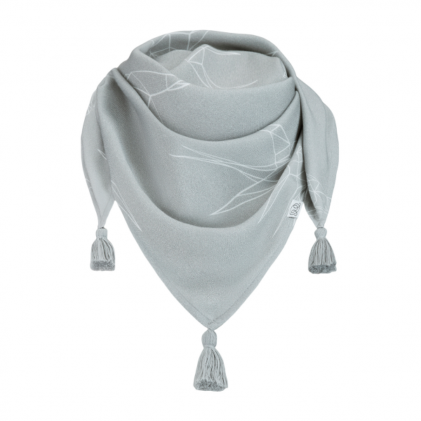 Triangle bamboo scarf Swallows Grey