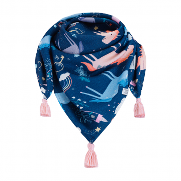 Triangle bamboo scarf Unicorns Dusty pink