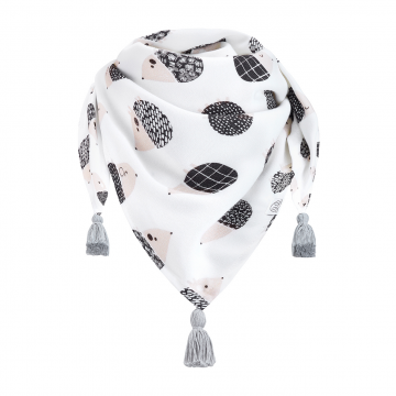 Triangle bamboo scarf Hedgehogs boys Grey