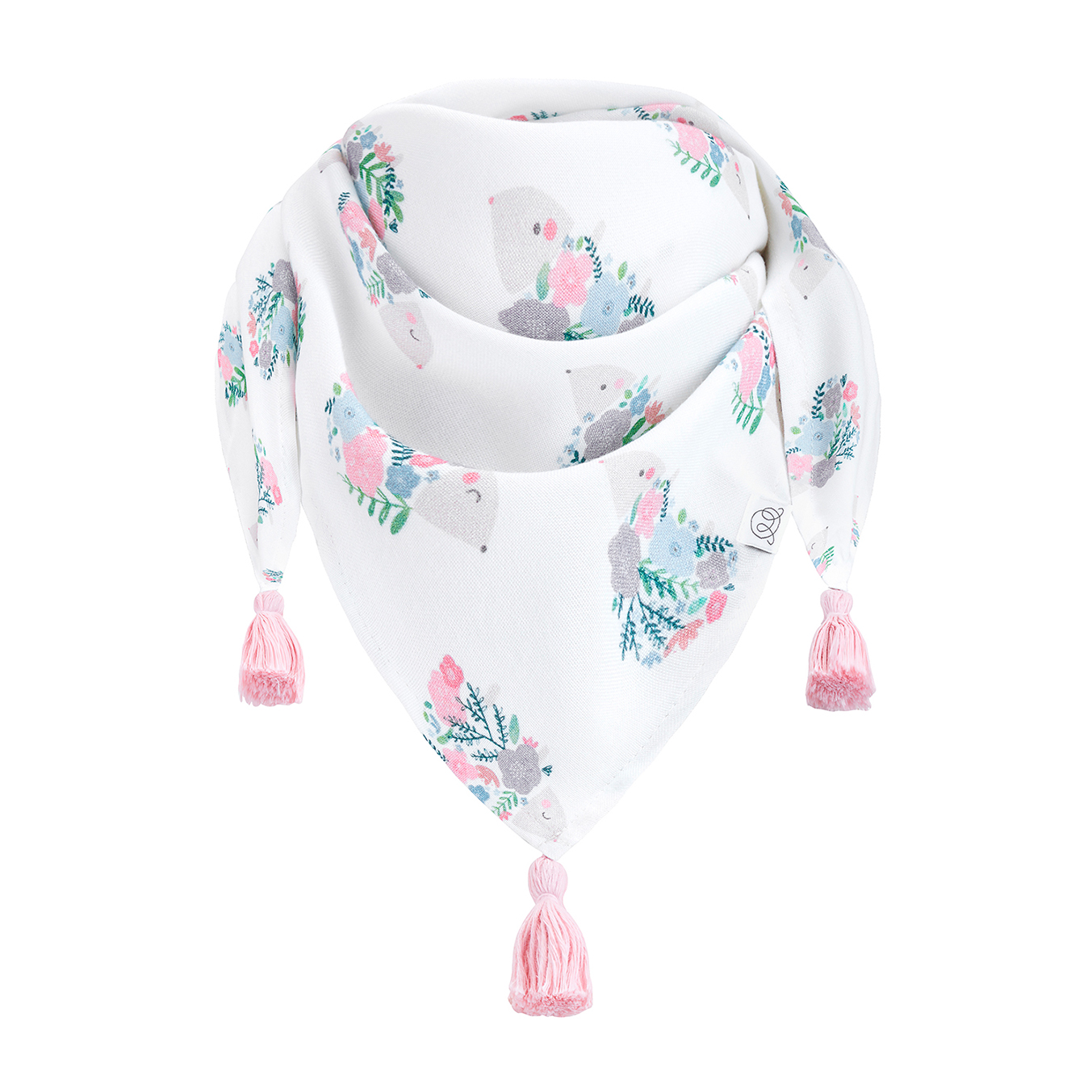 Triangle bamboo scarf Hedgehogs girls Blush