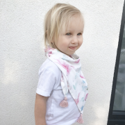 Triangle bamboo scarf Hedgehogs girls Dusty pink