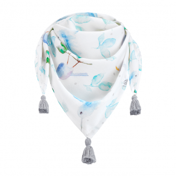 Triangle bamboo scarf Heavenly birds Grey