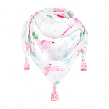 Triangle bamboo scarf Paradise birds Dusty pink