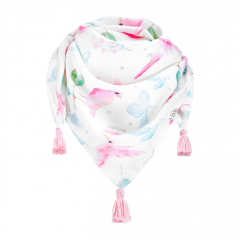 Bamboo tassel scarf - Paradise birds - pink
