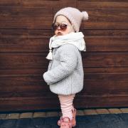Muslin triangle scarf Grey-Pink