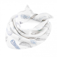 Triangle bamboo scarf - Heavenly feathers