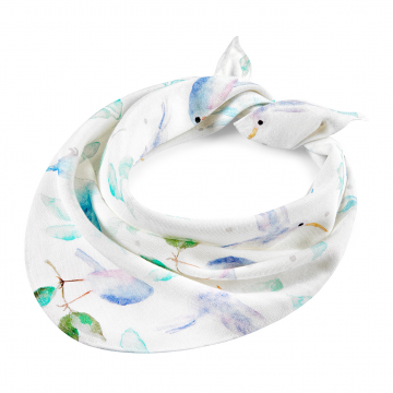 Bamboo triangle scarf Heavenly birds