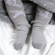 Cotton tights Silver feathers