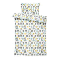 Bamboo bedding cover set S Grey owls
