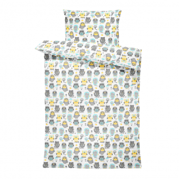 Bamboo bedding set with filling XS Grey owls