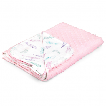 Light bamboo blanket Paradise feathers Blush