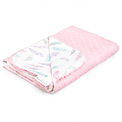 Light bamboo blanket - Paradise feathers - dusty pink