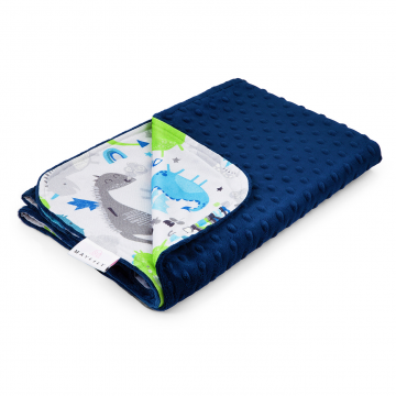 Light bamboo blanket Dragons blue Navy