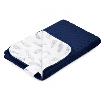 Light blanket Heavenly feathers Navy