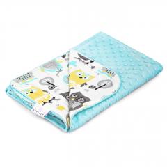 Light bamboo blanket - Grey owls - lodowy