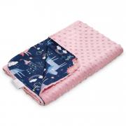 Light bamboo blanket - Unicorns - dusty pink