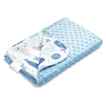 Light bamboo blanket - Sea friends - light blue