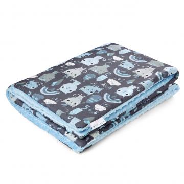 Warm bamboo blanket XL Indiana cat Light blue