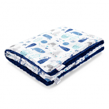 Warm bamboo blanket Sea friends Navy