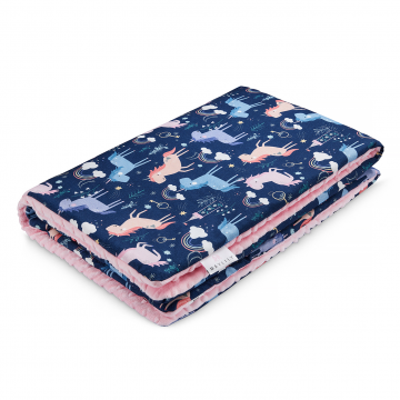 Warm bamboo blanket XL Unicorns Blush