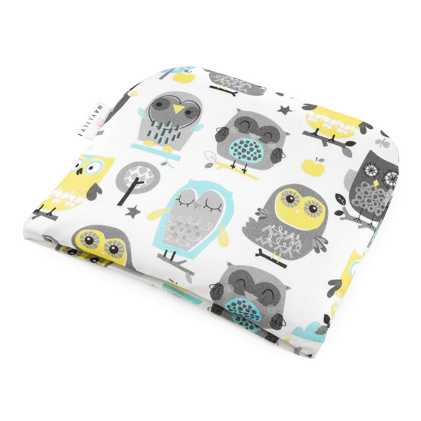 Bamboo baby pillow Grey owls