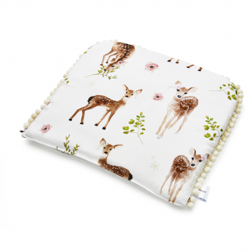 Pompom bamboo baby pillow Fawns