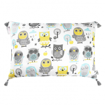 Double bamboo pillow Grey owls