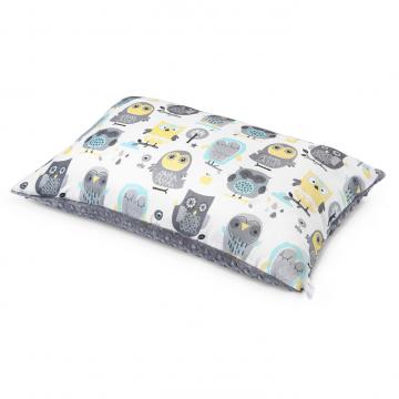 Bamboo fluffy pillow Grey owls Silver