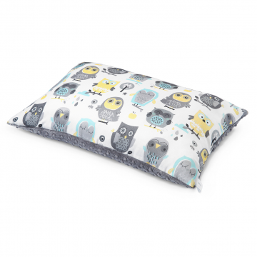 Bamboo fluffy pillow Grey owls Silver