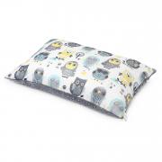 Fluffy bamboo pillow - Grey owls - silver