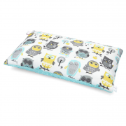 Fluffy bamboo pillow - Grey owls - lodowy