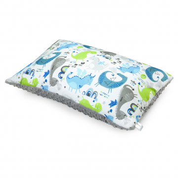 Bamboo fluffy pillow Dragons blue Silver