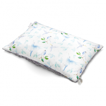 Luxe fluffy pillow Heavenly birds Grey