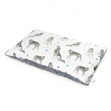 Luxe fluffy pillow Star wolves Silver