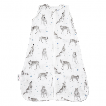 Bamboo muslin sleeping bag Star wolves