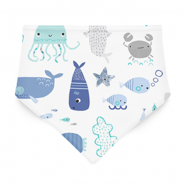 Bamboo bandana bib Sea friends