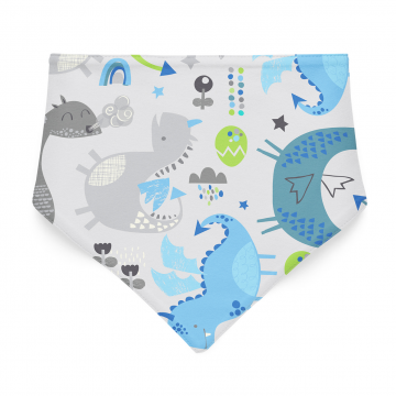Bamboo bandana bib Dragons blue