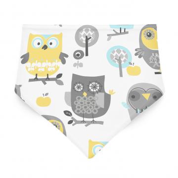 Bamboo bandana bib Grey owls