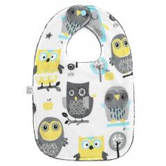 Bamboo bib Grey owls