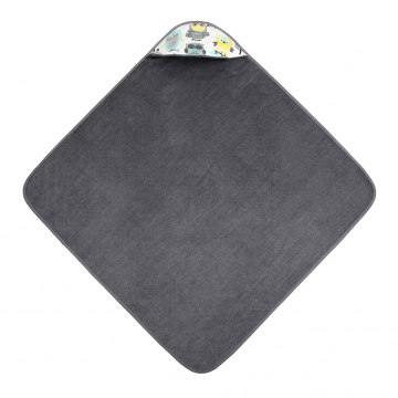 Bamboo baby towel Grey owls Grey