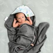 Bamboo baby towel Dragons blue Grey