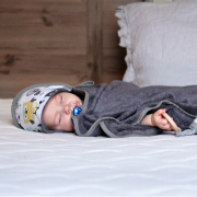 Bamboo baby towel Stars Grey