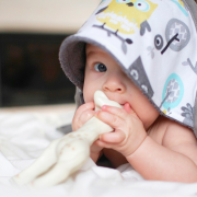 Bamboo baby towel Heavenly birds Grey