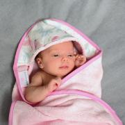 Bamboo baby towel Hedgehogs girls Cream